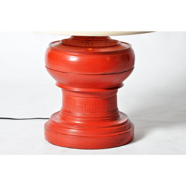 Wood Temple Offering Urn Lamp For Sale - Image 7 of 8