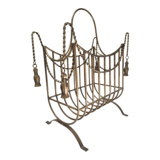 1980s Bronze Hollywood Regency Iron Rope and Tassel Firewood Log Caddy For Sale