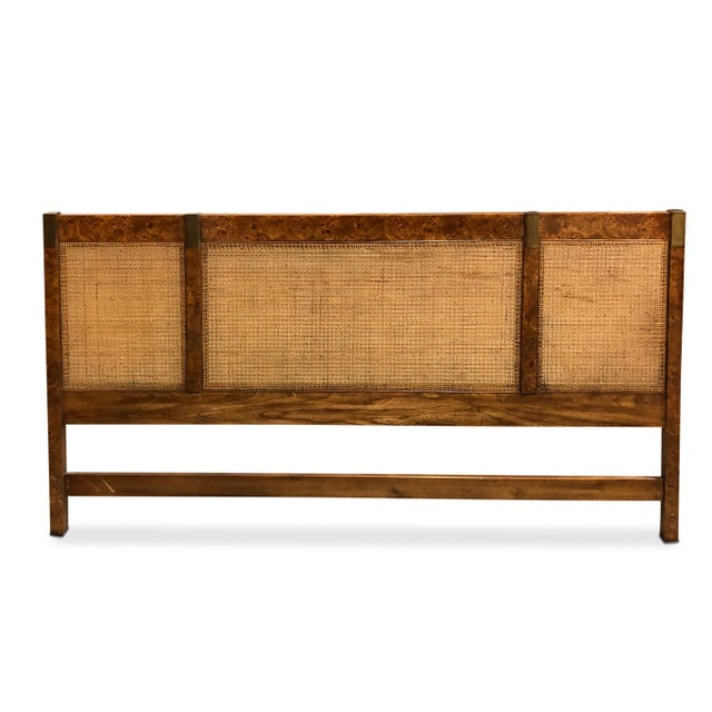 Vintage Campaign Burlwood and Brass Headboard For Sale In Chicago - Image 6 of 7