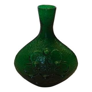 Textured and Patterned Mid-Century Handblown Blenko Art Glass Vase / Vessel For Sale