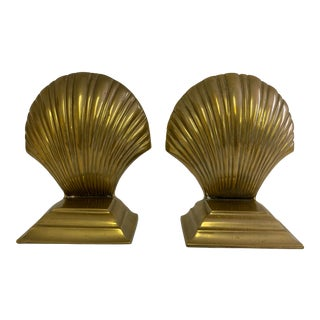 Brass Finished Scallop Shell Bookends- a Pair For Sale