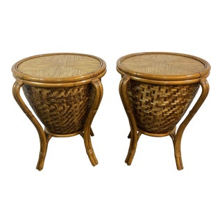 Palecek Bamboo & Wicker Drum Tables - a Pair For Sale