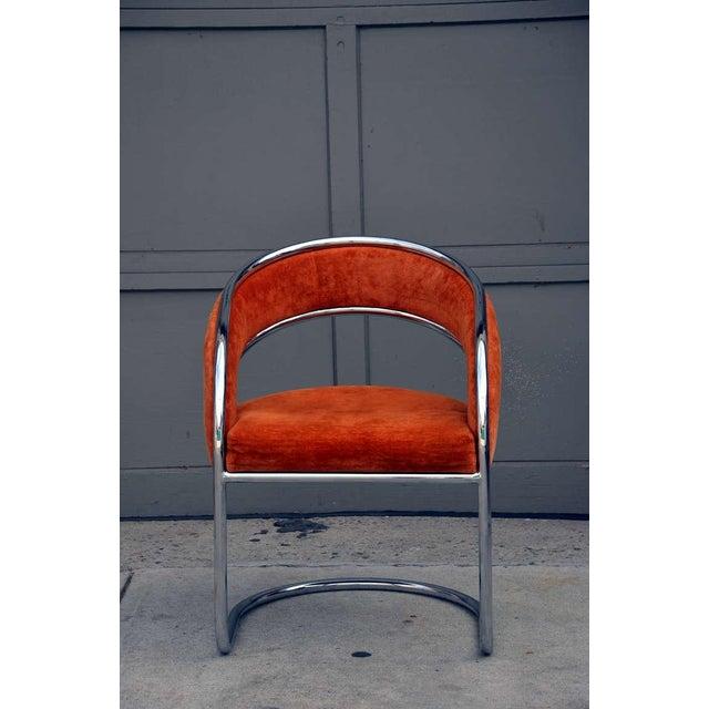 Silver Unique 70's Orange Velvet and Chrome Armchair For Sale - Image 8 of 8