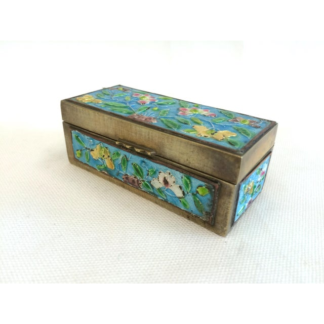 Vintage Chinese Enameled Brass Trinket Box - Image 2 of 7