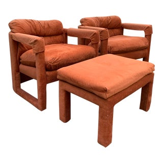 Milo Baughman for Drexel Parsons Lounge Chairs & Ottoman, 3 Pieces For Sale