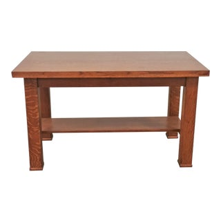 Early 20th Century Arts and Crafts Tiger Oak Console Table For Sale