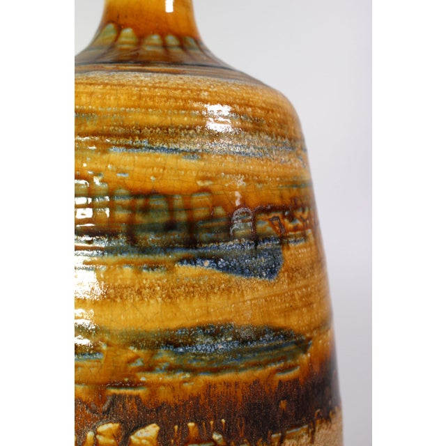 Mid-Century Modern 1970's Oversized Drip Glazed Earthenware Studio Pottery Accent Lamp For Sale - Image 3 of 6