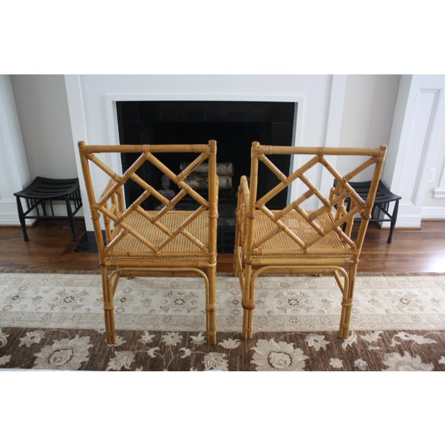 Vintage Palm Beach Style Bamboo Rattan Cane Chippendale Armchairs - a Pair For Sale - Image 4 of 13