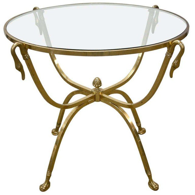 Brass Italian Brass and Glass Swan Motif Table in the Style of Jansen For Sale - Image 7 of 7