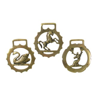 Vintage English Horse Brasses - Set of 3 For Sale