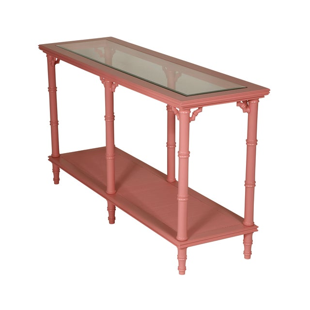 Faux Bamboo Pink Lacquer Console Table - Image 2 of 3