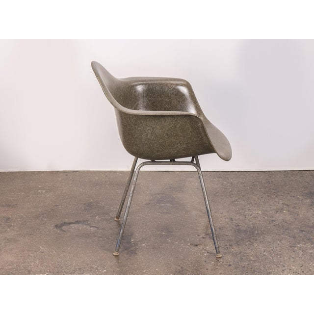 Herman Miller Eames Olive Green Fiberglass Armshell Chair For Sale - Image 4 of 9