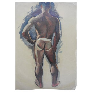 Robert Whitmore Oil Painting on Canvas of Partially Nude Male For Sale