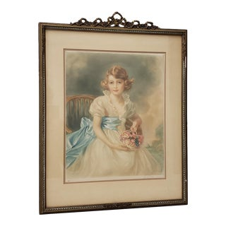 "Jessie Furber (British, 1800-1966)""hrh Princess Elizabeth"" Color Mezzotint C.1933 For Sale"