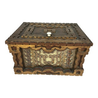 Antique Carved Trampware Style Box For Sale