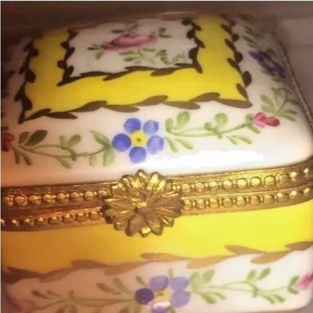 Blue Vintage Limoges Yellow & White Floral Box For Sale - Image 8 of 13