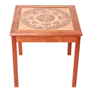 Danish Scandinavian Modern Tiled Top Square Side Table For Sale