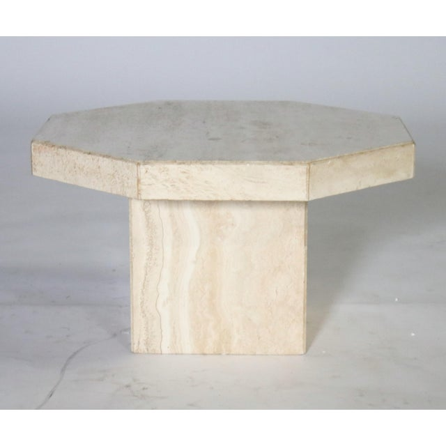 Trio of Travertine Tables With Hexagon Shape-Tops For Sale - Image 4 of 9