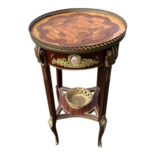 Mid 20th Century French Style Bronze Mounted Inlaid Table For Sale