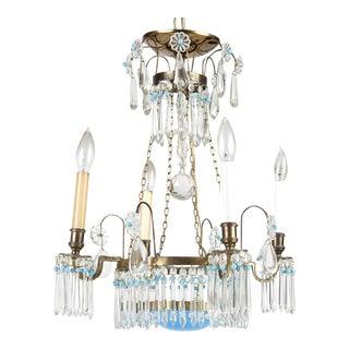 Art Deco 1920s Beautiful Cut Glass & Enamel Chandelier