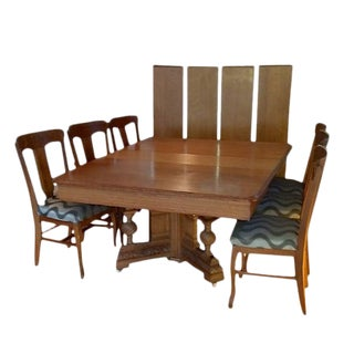 19th Century Victorian Square Oak Table With Carved Base and 6 Chairs - 7 Pieces For Sale