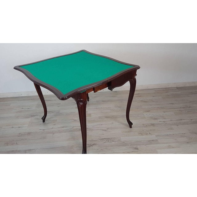 Rosewood 19th Century Italian Louis XV Style Rosewood Game Table For Sale - Image 7 of 10