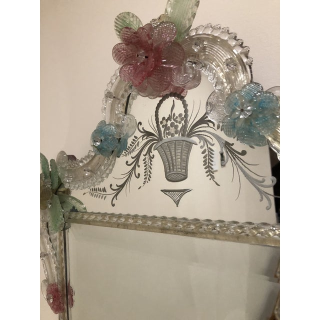 Italian Murano Etched Mirror For Sale - Image 4 of 6