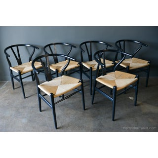 Vintage Hans Wegner in Ebonized Oak Ch-24 Wishbone Chairs- Set of 6 Preview