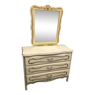 Vintage French Provincial White & Gold Painted Dresser With Mirror For Sale