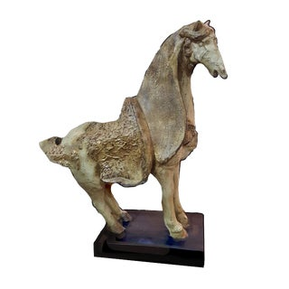 Large Resin Chinese Qing Dynasty Style Horse Figurine For Sale