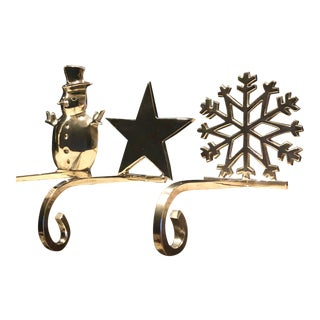 Vintage Stocking Holders Silver Christmas Snowman, Star, Snowflake Hooks - Set of 3 For Sale