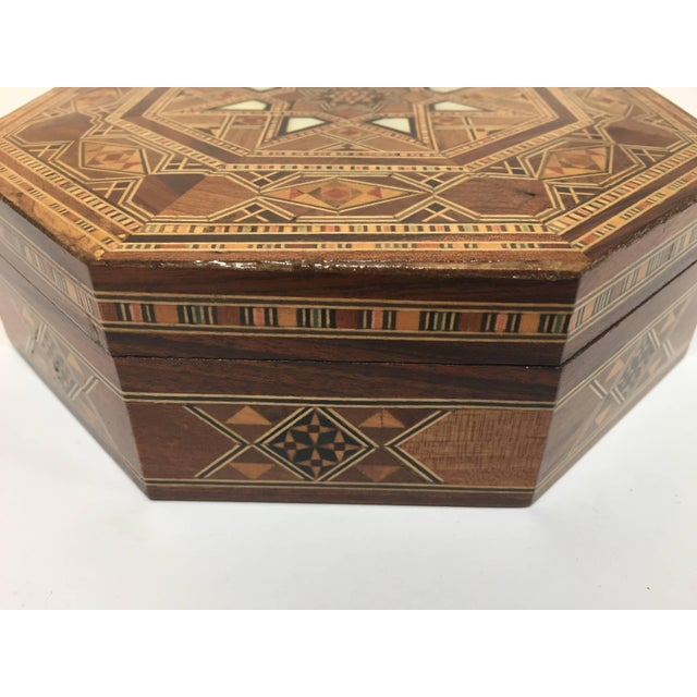 Middle Eastern Syrian Inlaid Marquetry Mosaic Octagonal Jewelry Box For Sale - Image 9 of 10