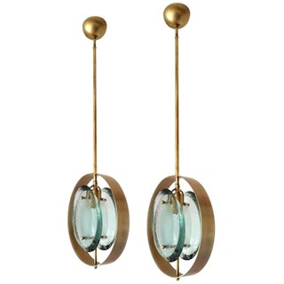 Mid-Century Brass and Green Murano Glass Pendants by Max Ingrand for Fontana Arte - Set of 2 For Sale