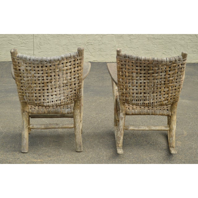 1910s Old Hickory Antique Rustic Armchair & Rocker For Sale - Image 5 of 12