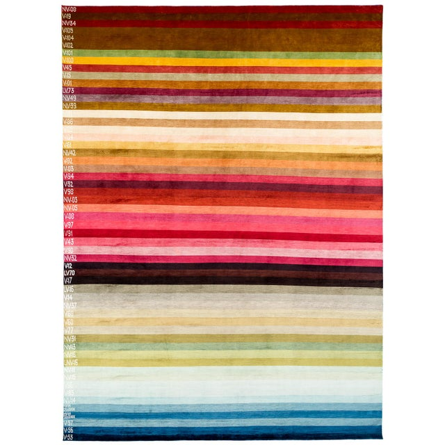 "Contemporary Silk Area Rug Multi Colors by Carini-9'x12"" For Sale - Image 9 of 9"