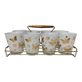 Georges Briard Mid-Century Old Fashioned Frosted Gold Butterflies Glasses - Set of 8 For Sale