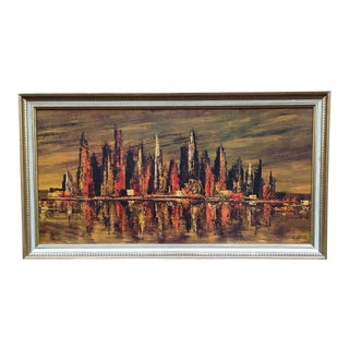 Mid-Century Carter Abstract Cityscape Print For Sale