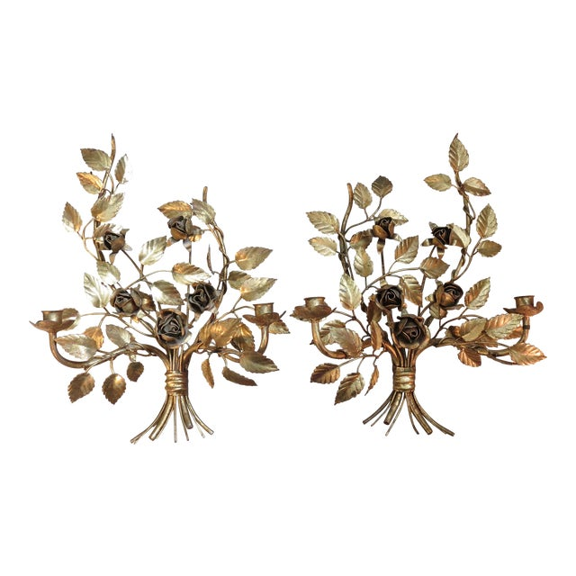 Vintage Italian Gilded Tole Wall Sconces - a Pair - Image 1 of 8