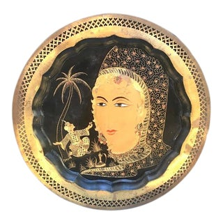 1940s Middle Eastern Etched Brass Round Goddess Tray For Sale