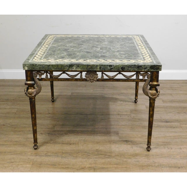 Neoclassical Maitland Smith Neo-Classical Square Marble Top Bronze and Iron Game Table For Sale - Image 3 of 13