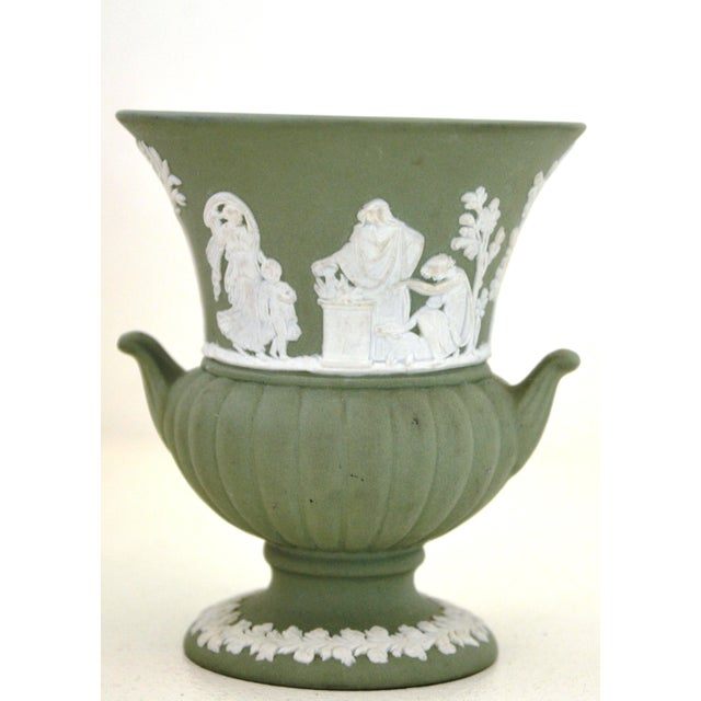 Antique Wedgwood Jasperware Vase White on Green Classic Miniature - Image 4 of 9