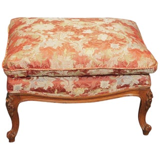 1950s Vintage Scalamandre Silk Upholstery Carved Fruitwood Bench For Sale