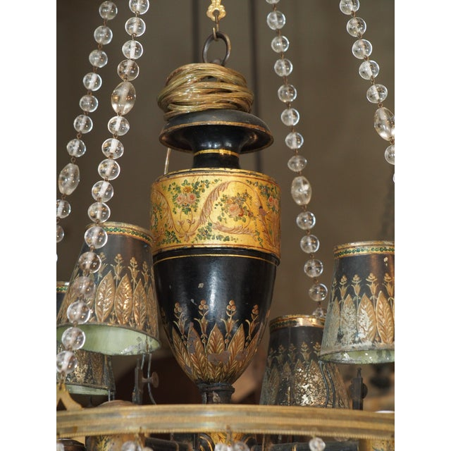 18th Century French Tole and Crystal Chandelier For Sale - Image 4 of 11