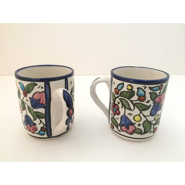 Various Artists Vintage Jerusalem Pottery Armenian Floral Ceramic Hand Painted Mugs - a Pair For Sale - Image 4 of 9