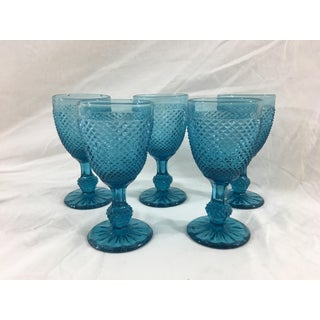 19th Century Blue Baccarat Small Wine Glasses - Set of 5
