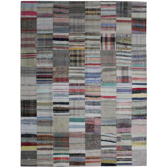 Hand Knotted Patchwork Rug - 8′5″ × 10′ For Sale
