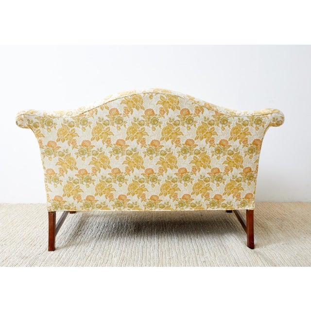 English Georgian Style Mahogany Camelback Settee Loveseat For Sale - Image 12 of 13