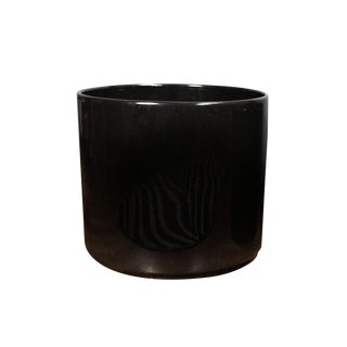 "17.5"" 1960s Vintage Gainey Oversized Glossy Black Glaze Architectural Planter For Sale"