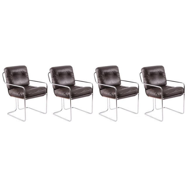 Guido Faleschini for Pace Leather 'Tucroma' Chairs - Set of 4 For Sale