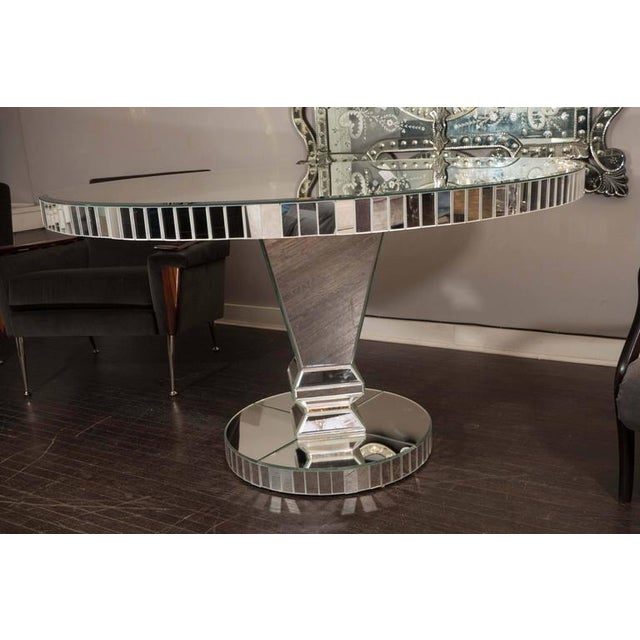 Modern Custom Round Mirrored Dining Table For Sale - Image 3 of 8